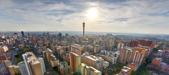 Skyline of Johannesburg from aerial view