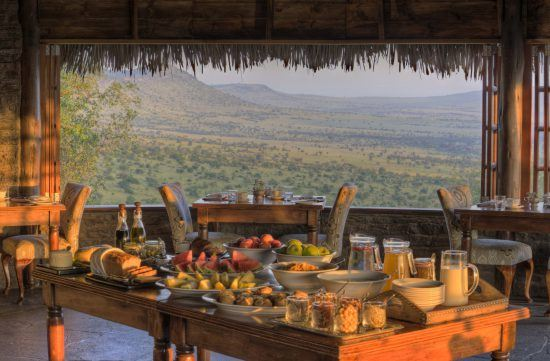 The breakfast set up at the dining room at Klein's Camp
