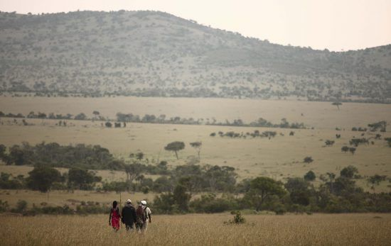 On a walking safari at Klein's Camp, led by a Maasai warrior guide