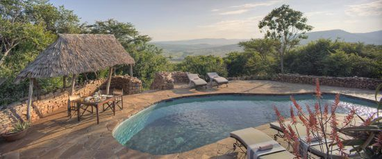 The pool area seen at Klein's Camp, perched on the Kuka Hills and overlooking a private concession.