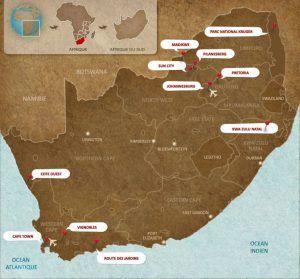 Carte des destinations incontournables l'Afrique du Sud