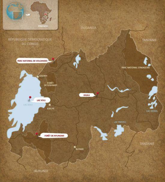Carte du Rwanda et le lac Kivu