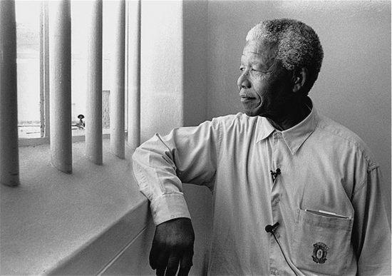 Nelson Mandela in seiner ehemaligen Gefängniszelle auf Robben Island - Mandela Day