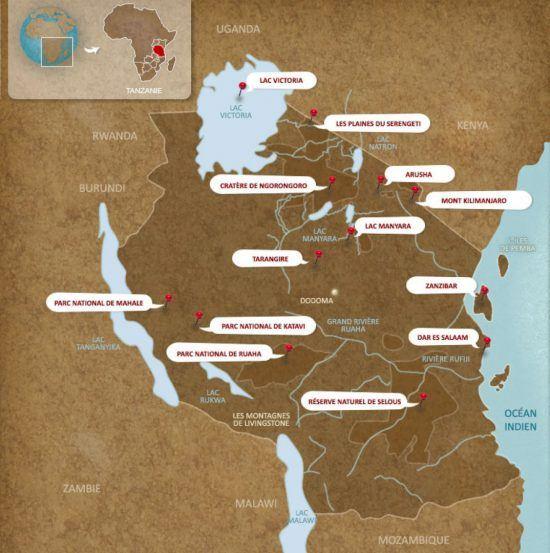 Carte de la Tanzanie et des lacs en Afrique.