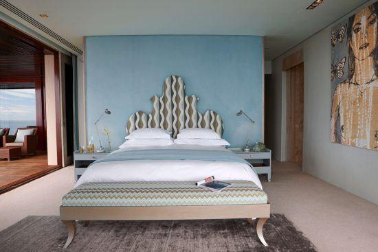 The pristine decor of the Aqua Room at Ellerman House