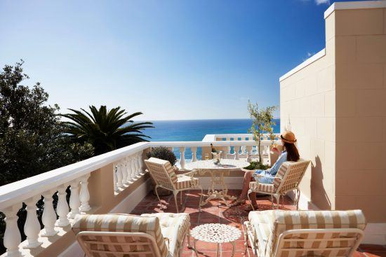 Panoramic views of the Atlantic Ocean from the private terrace at Ellerman House