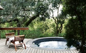 Terrasse avec piscine privée, Londolozi, réserve de Sabi Sand, Parc National Kruger