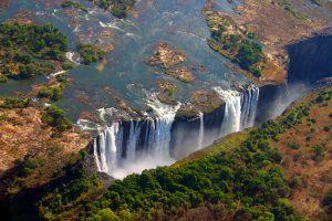 Chutes Victoria vues du ciel, entre Zimbabwe et Zambie