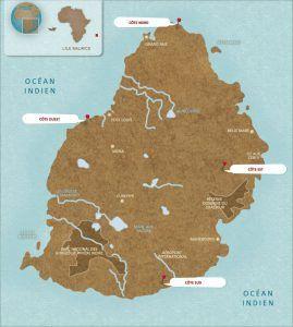 carte de l'île maurice, destination idéale pour combiner plage et safari