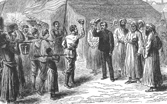 Ilustración del encuentro entre Henry Morton y David Lvingstone