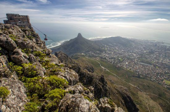 A view of Lion's Head and the City of Cape Town from Table Mountain