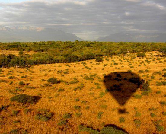 eine braune Landschaft, in der man den Schatten eines Heißluftballons sieht