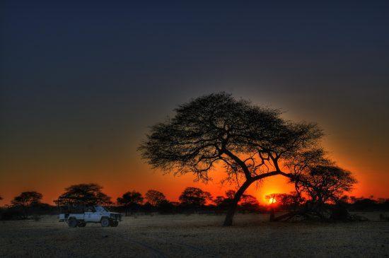 Atardecer en en Botusana, África