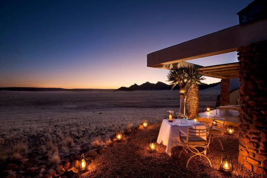 The romantic setting at the Sossuvlei Desert Lodge in Namibia