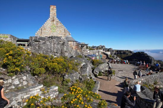 The top of Table Mountain with walking routes and fynbos