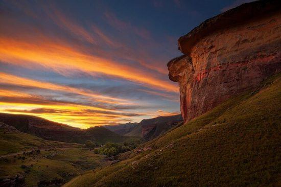 "A mix of coloured sandstone and sunshine casting a ""Golden Hue"" in Golden Gates Highlands National Park"