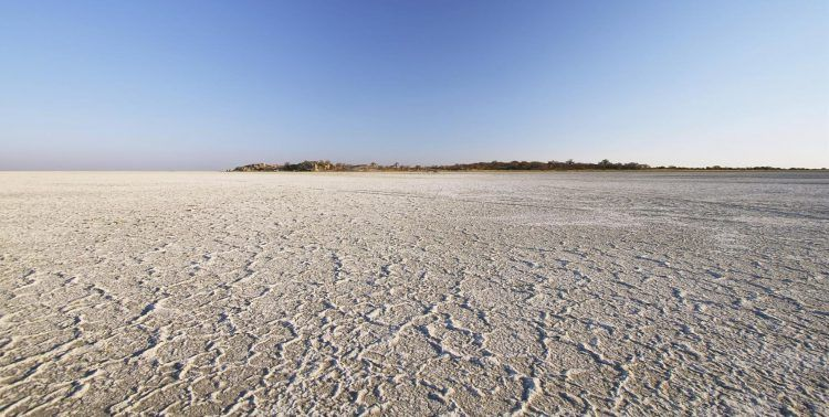 The Makadikgadi Salt Pans in the Kalahari Desert.