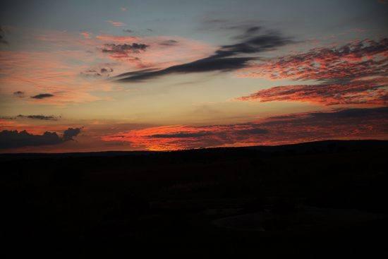 Pôr do sol na Reserva Welgevonden
