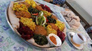 Comida vegetariana en Timbuktu Cafe, uno de los restaurantes en Ciudad del Cabo