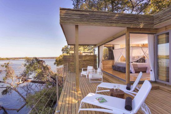 Victoria Falls Island Lodge is a 5-star hideout on the banks of the Zambezi River