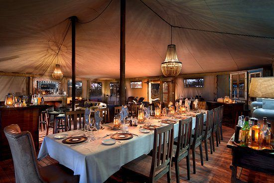 The elegant interior of the dining tent