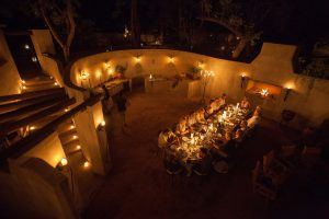 Enjoy candle-lit dinners with the sounds of the bush at Notten's Bush Camp luxury African safari