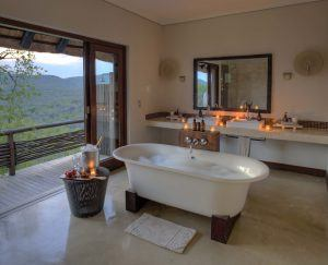 A relaxing bubble bath at Phinda Mountain Lodge luxury African safari