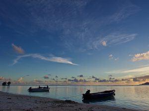 Boats in a Seychelles bay
