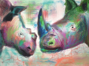 A painting of two rhinos