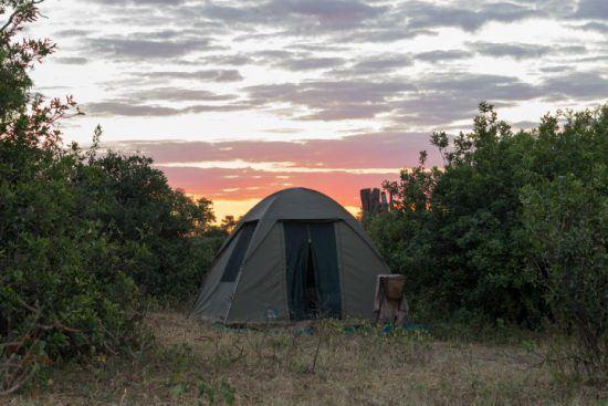 Ein kleines Zelt bei Sonnenuntergang im Gonarezhou Nationalpark in Simbabwe