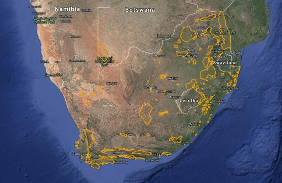 Áreas Importantes de Aves e Biodiversidade da África do Sul. Crédito: Birdlife South Africa