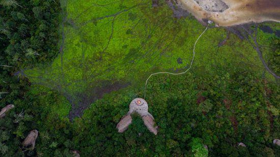 Aufnahme des Odzala Lango Camps von oben
