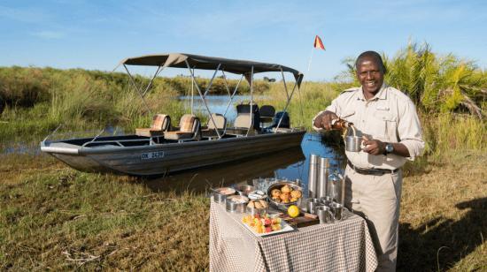 Que voir au Botswana ? Un petit déjeuner sur une île du Delta.