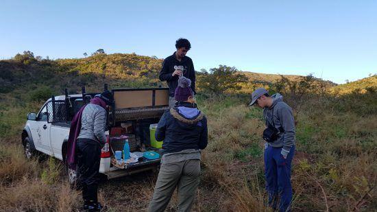 Pausa café dans la savane avec les bénévoles de Wildlife ACT.