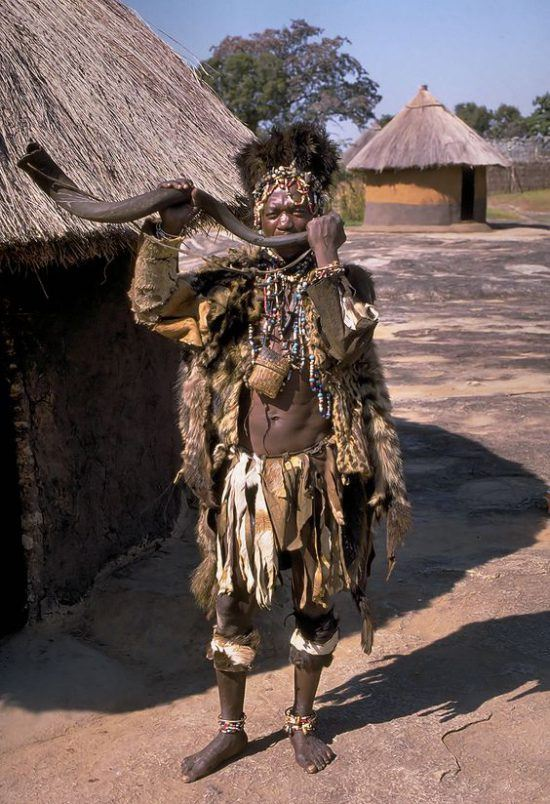 A medicine man in a Shona village