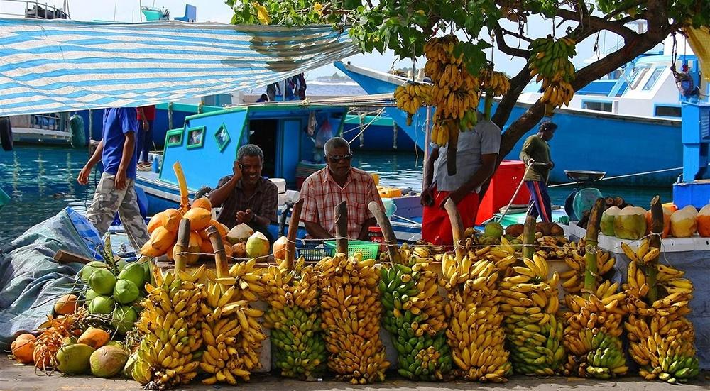 Mercado de rua em Malé, nas Maldivas