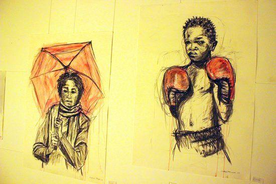 Acrílico e carvão sobre canvas de Lindele Msweli
