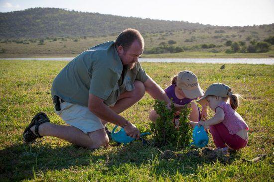 Vater pflanzt mit Töchtern einen Speckbaum im Kwandwe Private Game Reserve
