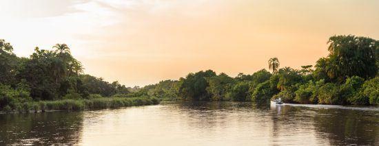 Bootsfahrt bei Sonnenuntergang im Odzala Nationalpark
