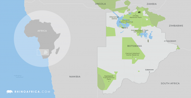 Map of Botswana country in Africa
