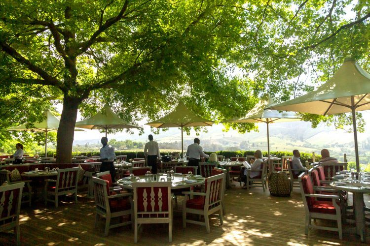 Wine tasting terrace at Delaire Graff Estate in Stellenbosch Winelands