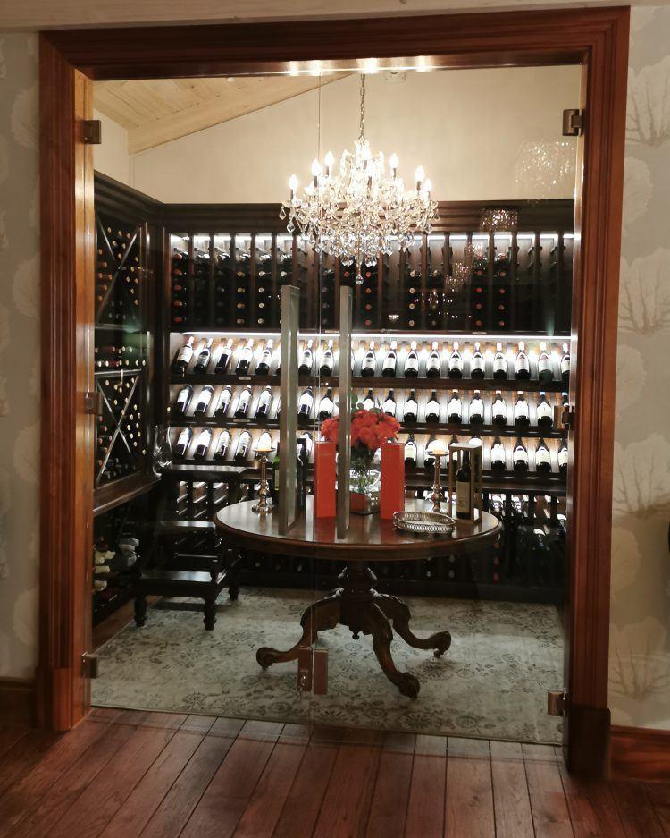 Walk-in wine cellar at Tintswalo Atlantic