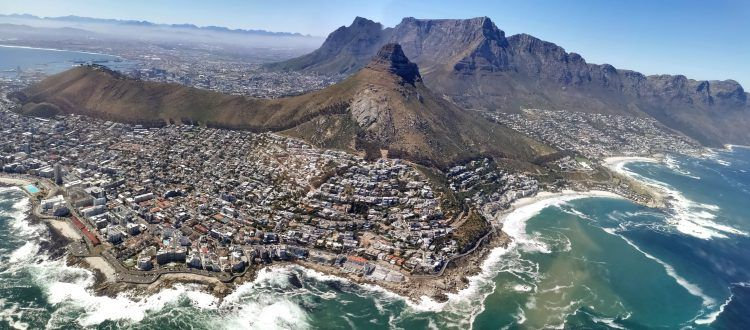 View over Cape Town city and Atlantic Ocean from NAC Helicopter