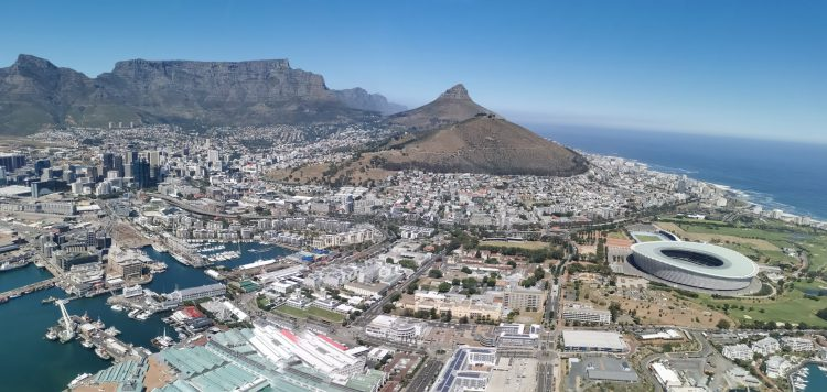 View of Cape Town city in South Africa from a NAC Helicopter