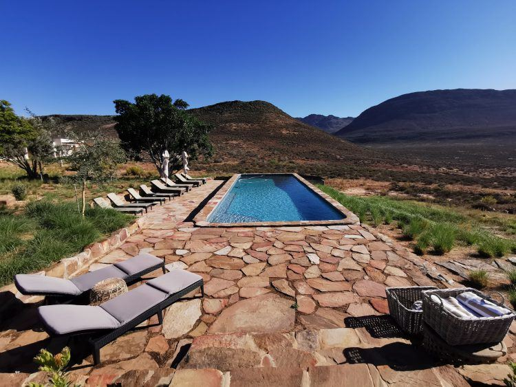 The inviting swimming pool at Cederberg ridge Wilderness Lodge