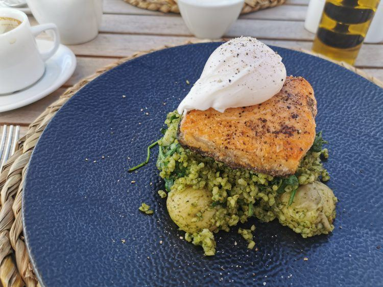Salmon with poached egg breakfast at Cederberg Ridge Wilderness Lodge