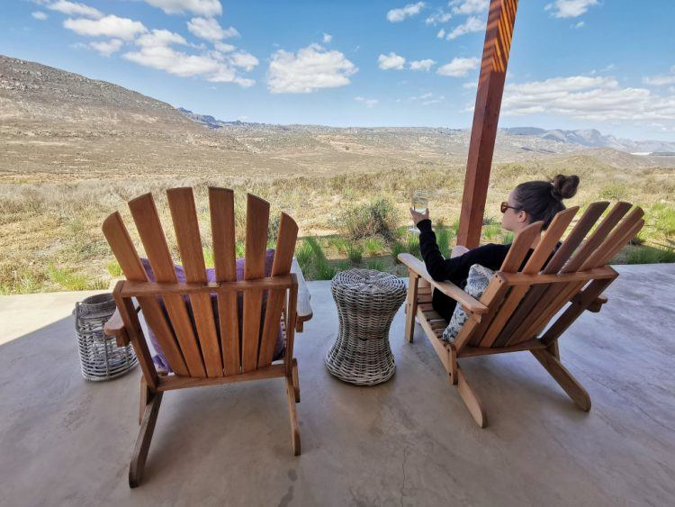 Relaxing on the terrace at the Cederberg Ridge Wilderness Lodge