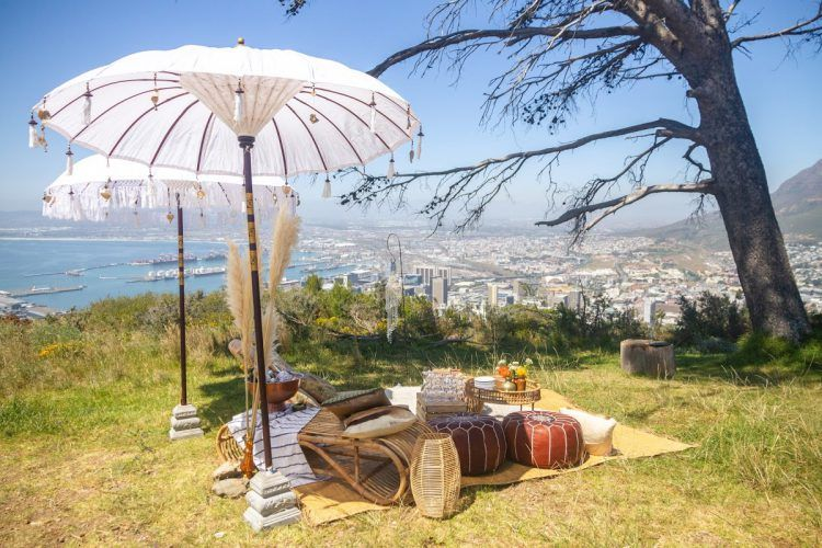 Signal Hill picnic set up by Explore Sideways in Cape Town