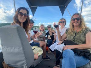 Bianca Johnstone and travel group on a sunset cruise