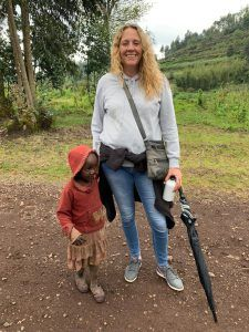 Bianca Johnstone making friends with locals in Rwanda